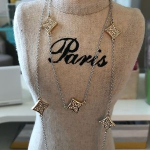 Two Toned Rhinestone Dainty Detail Long Necklace